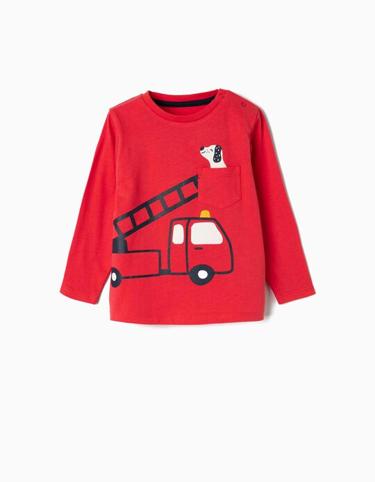 T-shirt Manga Comprida para Bebé Menino 'Firetruck', Vermelho