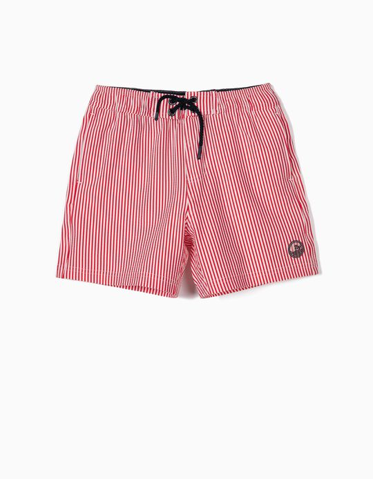 Striped Swim Shorts for Boys, 'B&S' Anti-UV 80, Red