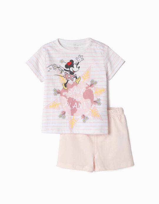 Pijama Algodón Orgánico para Bebé 'Minnie Earth Day', Rosa y Blanco