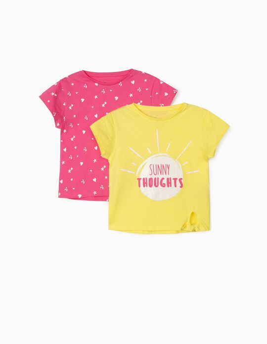 2 T-shirts for Girls, 'Sunny Thoughts', Yellow/Pink