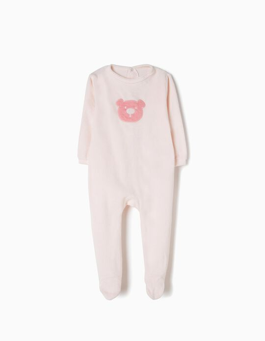 Light Pink Velour All-In-One, Bear