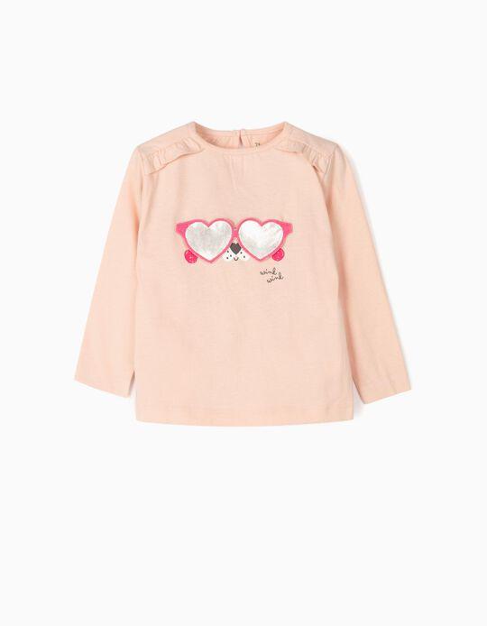 Camiseta de Manga Larga para Bebé Niña 'Wink Wink', Rosa Claro
