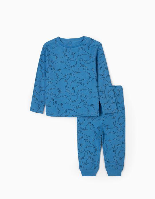 Pyjama en Maille Côtelée Bébé Garçon 'Dinosaurs', Blue