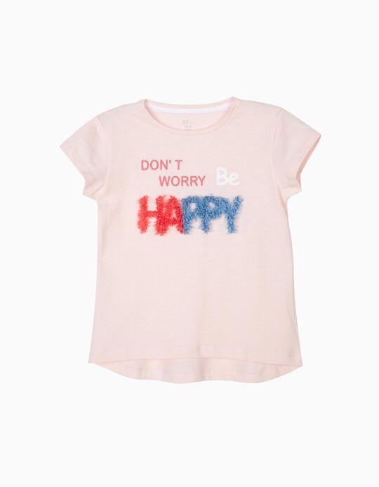 Camiseta para Niña 'Happy', Rosa Claro