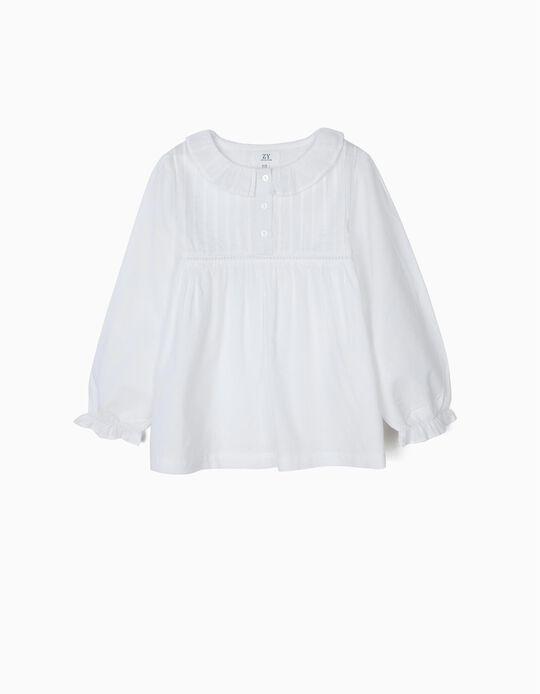 Blusa para Niña con Volantes y Pliegues, Blanca
