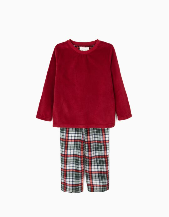 Pijama Polar Manga Larga y Pantalón Burdeos y Ajedrez