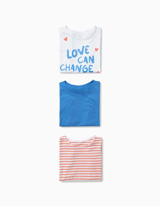 3 Camisetas para Niña 'Love', Multicolor