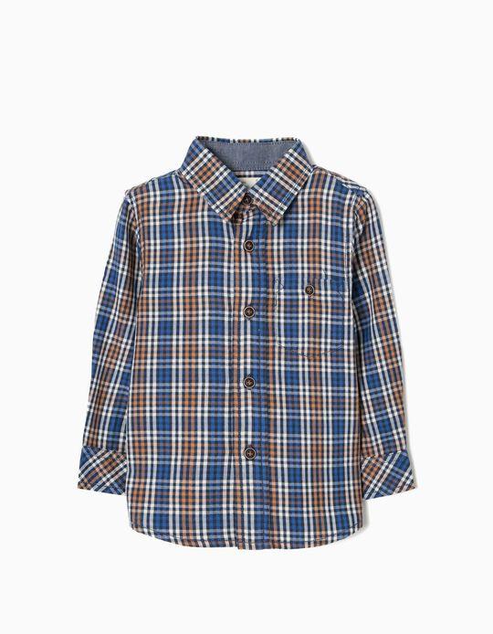 Camisa Xadrez para Bebé Menino, Castanho e Azul