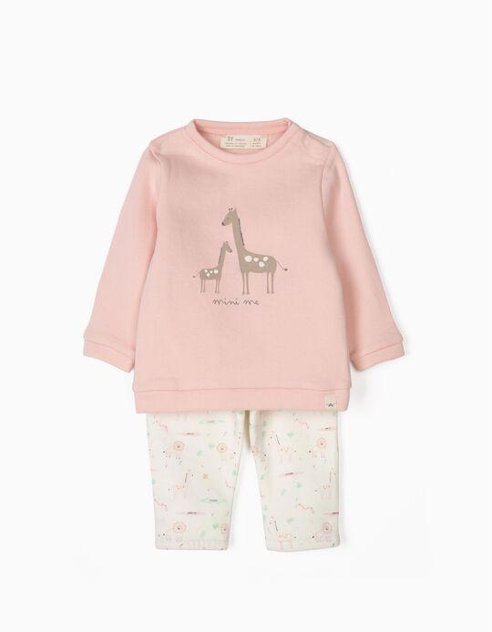 Fato de Treino para Recém-Nascida 'Mini Me', Rosa e Branco