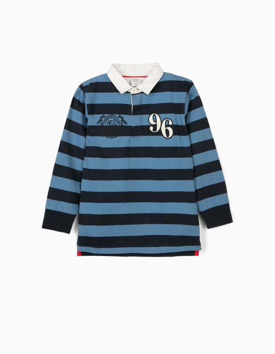 Striped Polo Shirt for Boys, '96', Blue