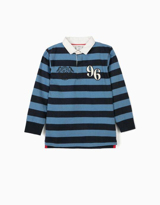 Polo à rayures garçon '96', bleu