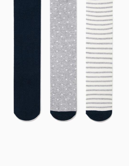 3 Collants de Malha para Menina, Azul Escuro/Cinza/Branco