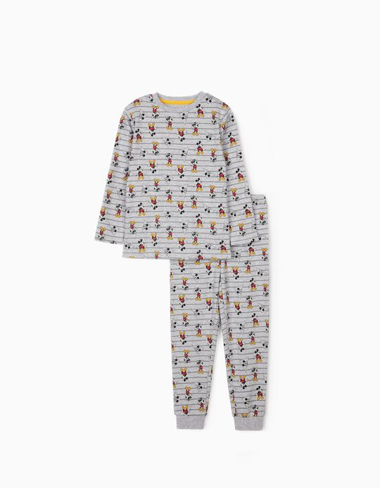 Striped Pyjamas for Boys, 'Mickey Mouse', Grey