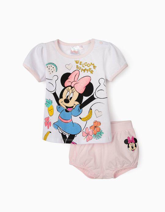 T-shirt et short bébé fille 'Minnie Summer', blanc/rose