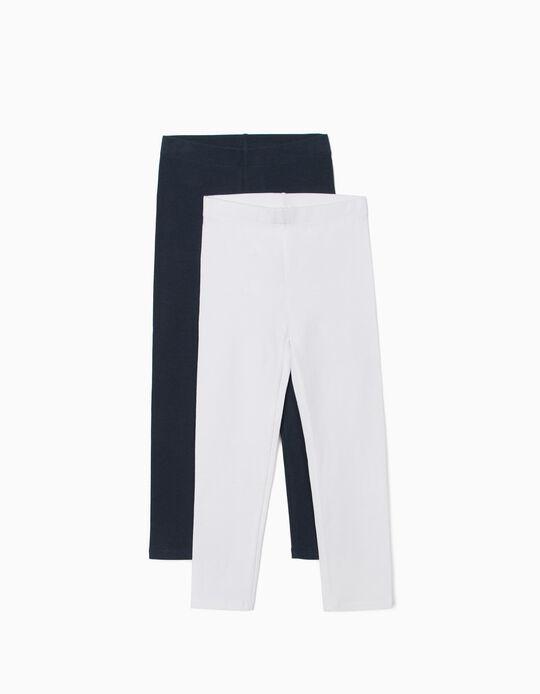 2 Leggings para Niña, Azul Oscuro/Blanco