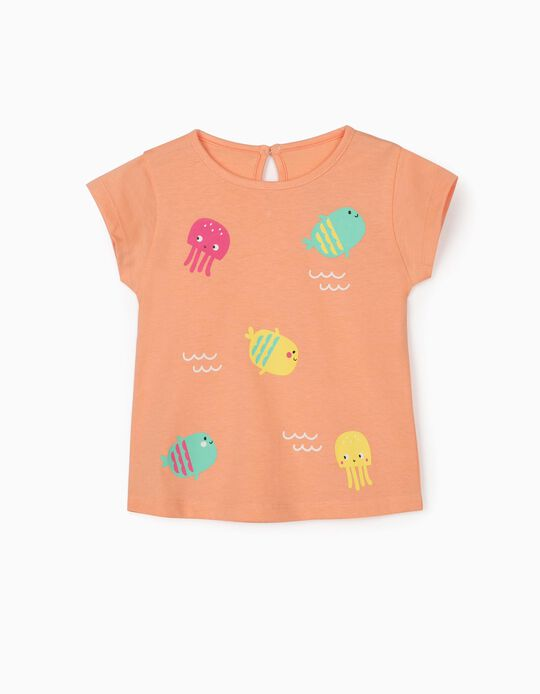 T-shirt bébé fille 'Sea Animals', orange