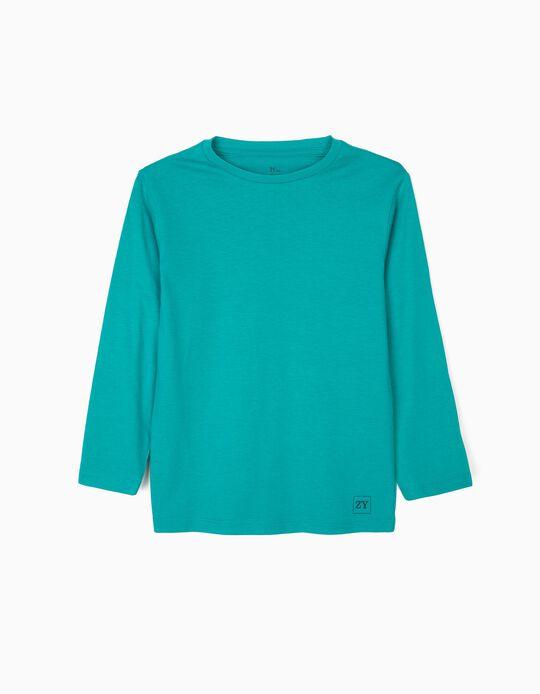 Camiseta de Manga Larga Básica para Niño, Verde Azulada