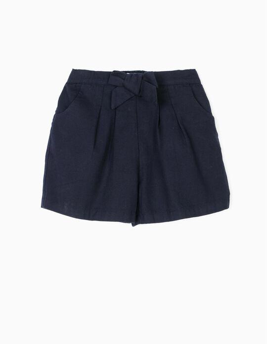 Short para Niña 'B&S' con Lacito, Azul Oscuro