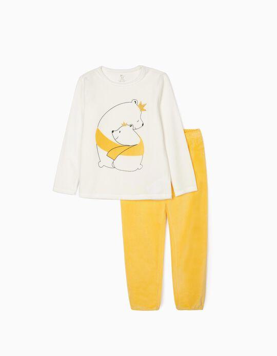 Pijama Terciopelo para Niña 'Bear Love', Blanco/Amarillo