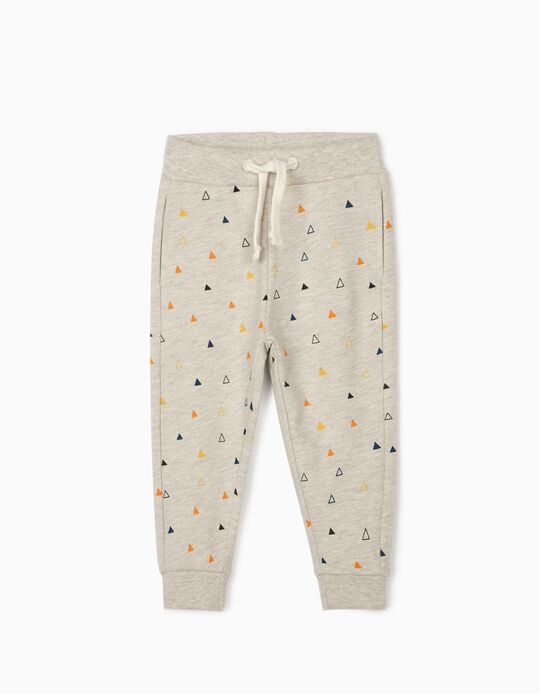Joggers for Baby Boys, 'Triangles', Grey