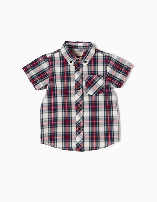 Camisa Bebé Niño Manga Corta Ajedrez Rojo y Azul