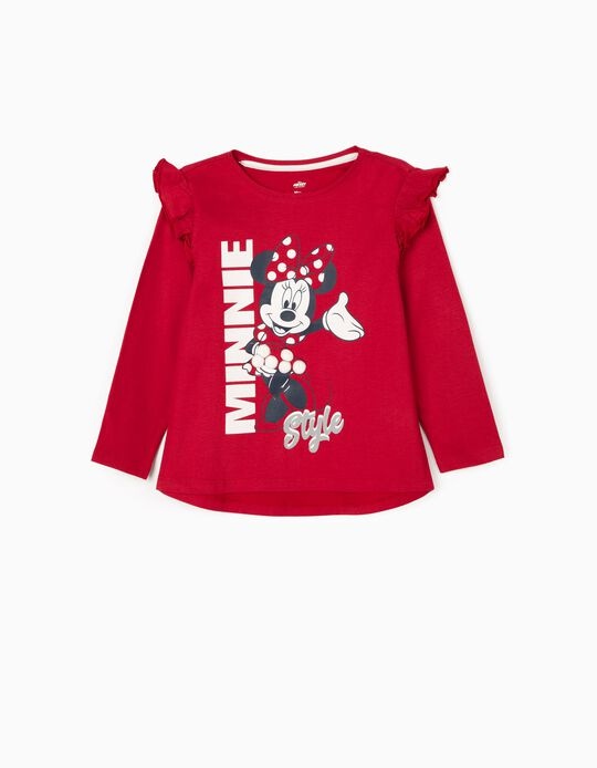Camiseta de Manga Larga para Niña 'Minnie', Roja