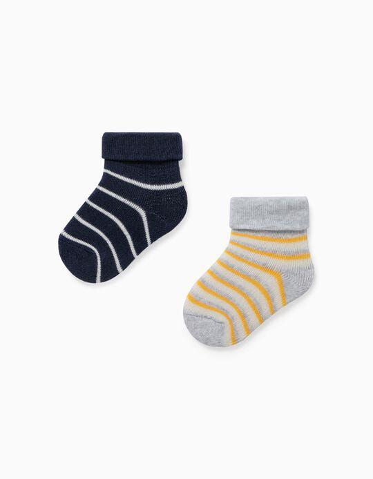 2 paires de chaussettes rayées nouveau-né 'WH', multicolore