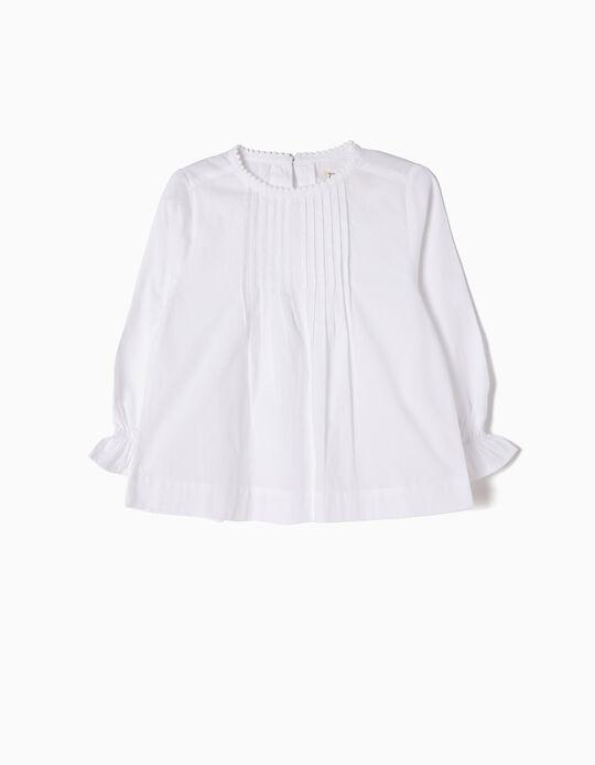 Blusa Bebé Menina Pregas Blanca