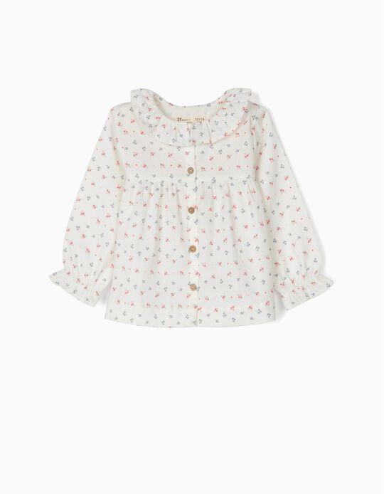 Blusa de Manga Larga para Bebé Niña 'Flores', Blanca