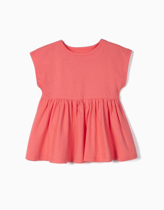 Camiseta con Volantes para Niña de Algodón Orgánico, Rosa