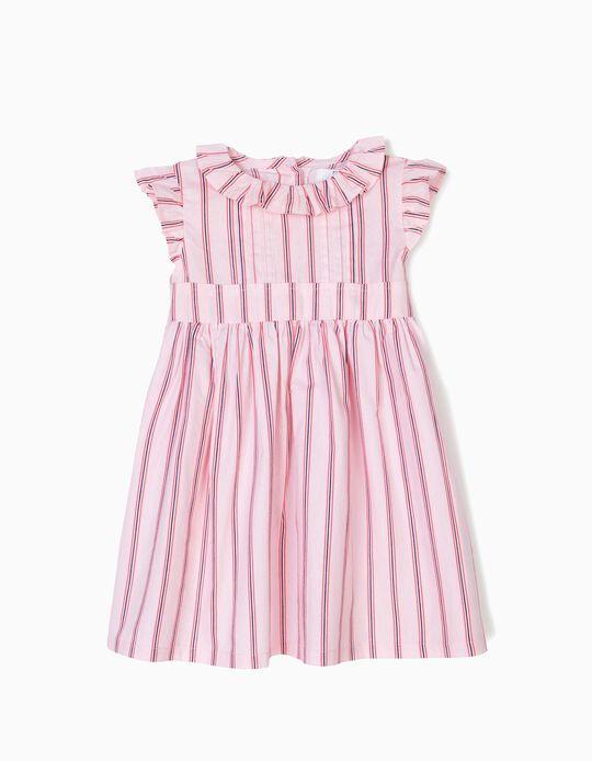 Vestido para Bebé Menina Riscas, Rosa