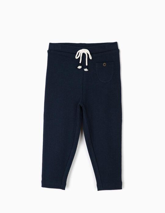 Calças Leggings Caneladas para Bebé Menina, Azul Escuro