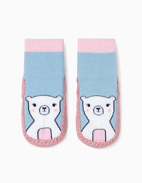 Calcetines Pantuflas para Niña, Rosa/Azul