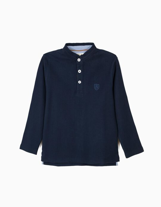 Polo Shirt for Boys with Mao Collar, Dark Blue