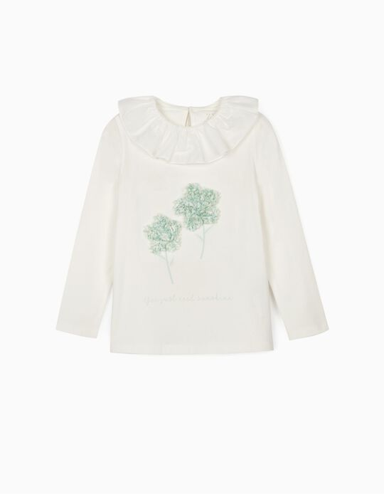 T-shirt manches longues bébé fille 'Sunshine', blanc