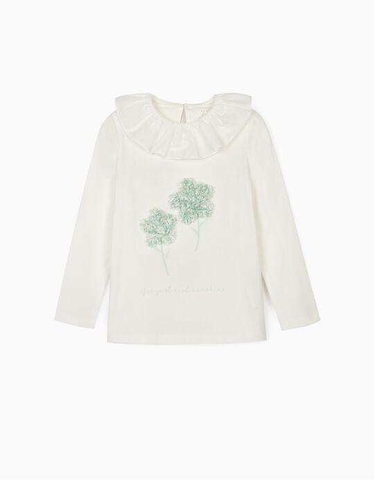 T-shirt Manga Comprida para Menina 'Sunshine', Branco