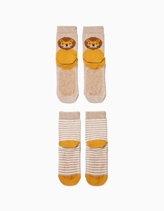 2 Calcetines Antideslizantes para Niño 'Animals', Beige