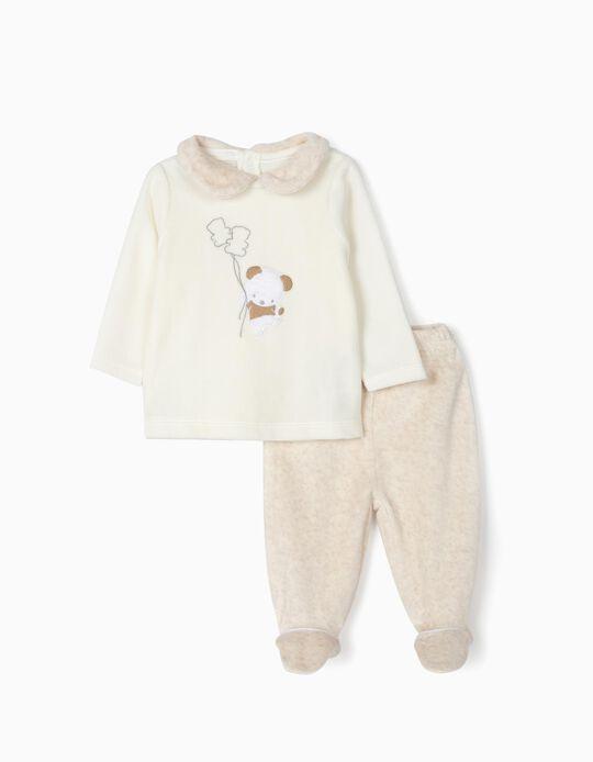 Pijama Polar para Bebé 'Cute Bear', Blanco y Beige