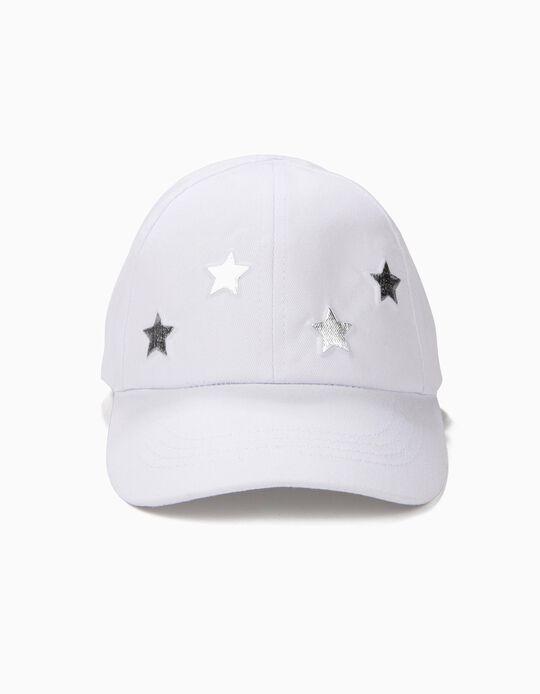 Boné para Menina Estrelas, Branco