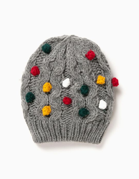 Grey Knitted Beanie with Little Pompons