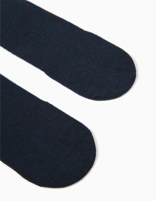 2 Pares de Calcetines Altos para Niño, Azul Oscuro