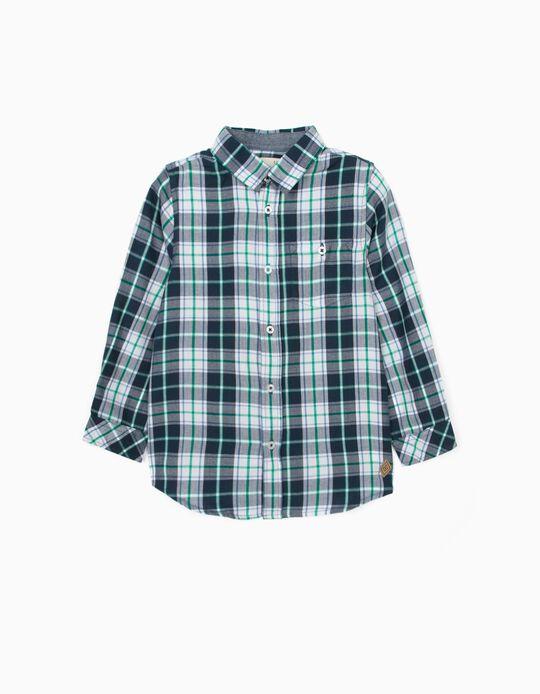 Camisa Manga Comprida Xadrez para Menino, Azul/Branco