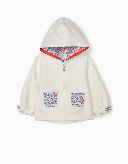 Hooded Jacket for Baby Girls 'Flowers', White