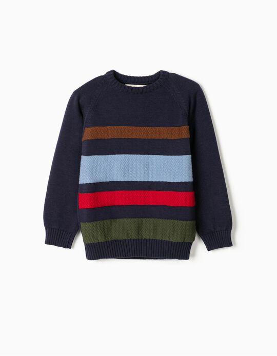 Jumper for Boys, 'Stripes', Dark Blue
