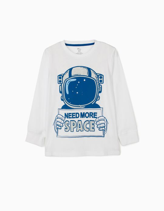 Long Sleeve Top for Boys, 'Space', White