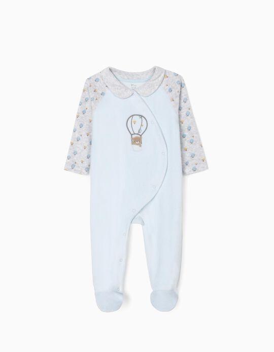 Babygrow Veludo para Bebé Menino 'Bear Balloon', Cinza/Azul