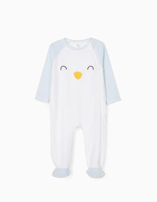 Sleepsuit in Velour for Baby Boys 'Penguin', White/Blue