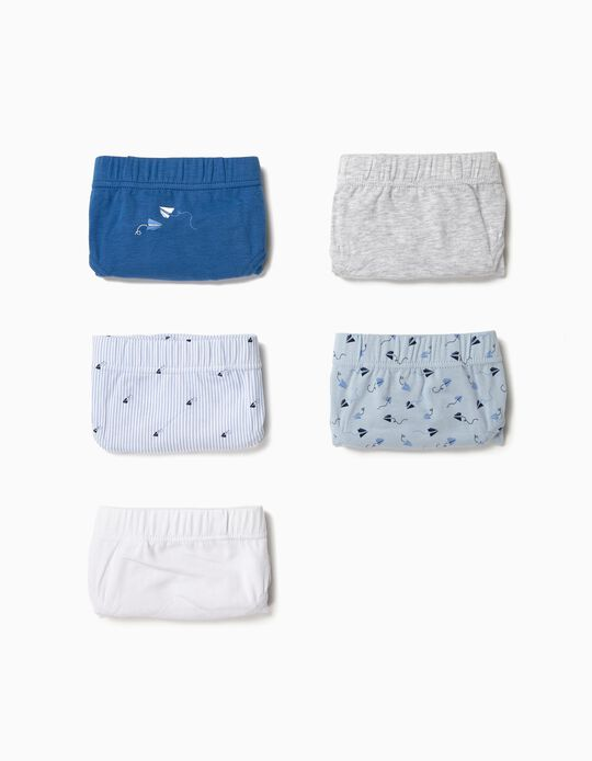 5 Briefs for Boys, 'Paper Plane', Grey/Blue/White