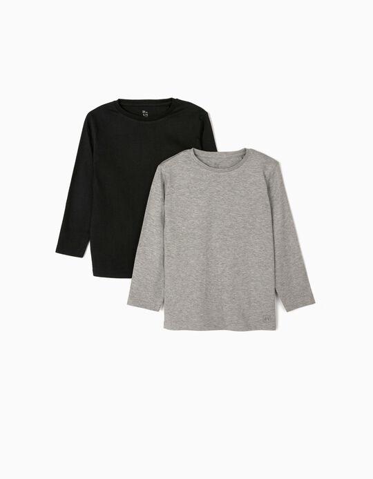 2 T-shirts Manga Comprida para Menino, Cinza/Preto
