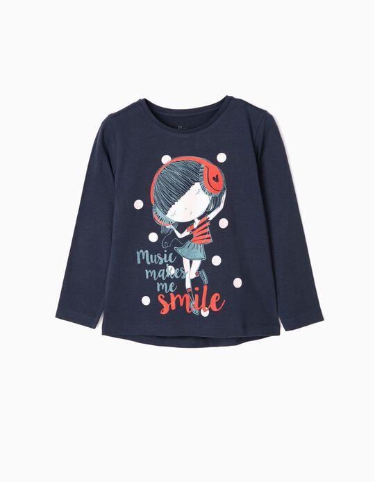 Camiseta de Manga Larga para Niña 'Music', Azul Oscuro